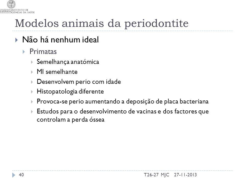 Modelos animais da periodontite Não há nenhum ideal Primatas Semelhança anatómica MI semelhante Desenvolvem perio com idade Histopatologia diferente P