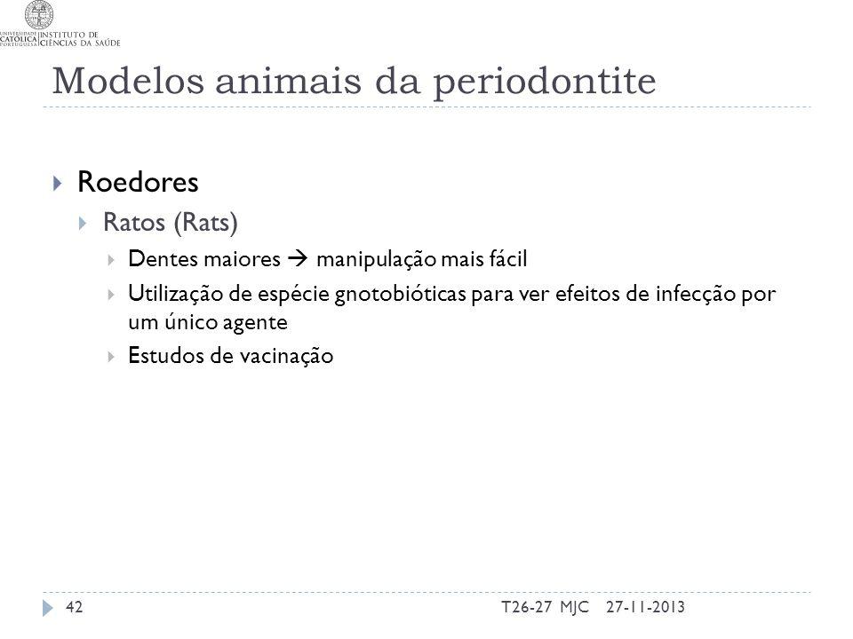 Modelos animais da periodontite Roedores Ratos (Rats) Dentes maiores manipulação mais fácil Utilização de espécie gnotobióticas para ver efeitos de in
