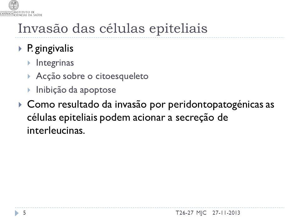 Factores de virulência (Mecanismos) - P.gingivalis Adesão, colonização e formação de biofilme Biofilme Agregação intergénica com: Streptococci orais e Actinomyces naeslundii Fusobacterium Treponema denticola e Tanerella forsythia Fimbrias Células epiteliais Fibroblastos Células endoteliais Matriz extracelular (fibronectina e fibrinogénio) Prps e estaterina Hidroxiapatite coberta de saliva FimA inibida por S.