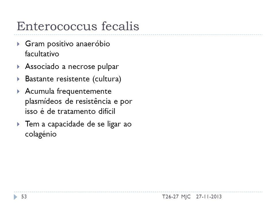 Enterococcus fecalis Gram positivo anaeróbio facultativo Associado a necrose pulpar Bastante resistente (cultura) Acumula frequentemente plasmídeos de