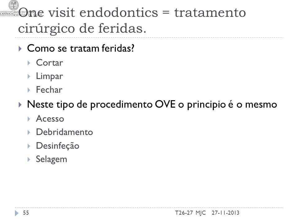 One visit endodontics = tratamento cirúrgico de feridas. Como se tratam feridas? Cortar Limpar Fechar Neste tipo de procedimento OVE o principio é o m