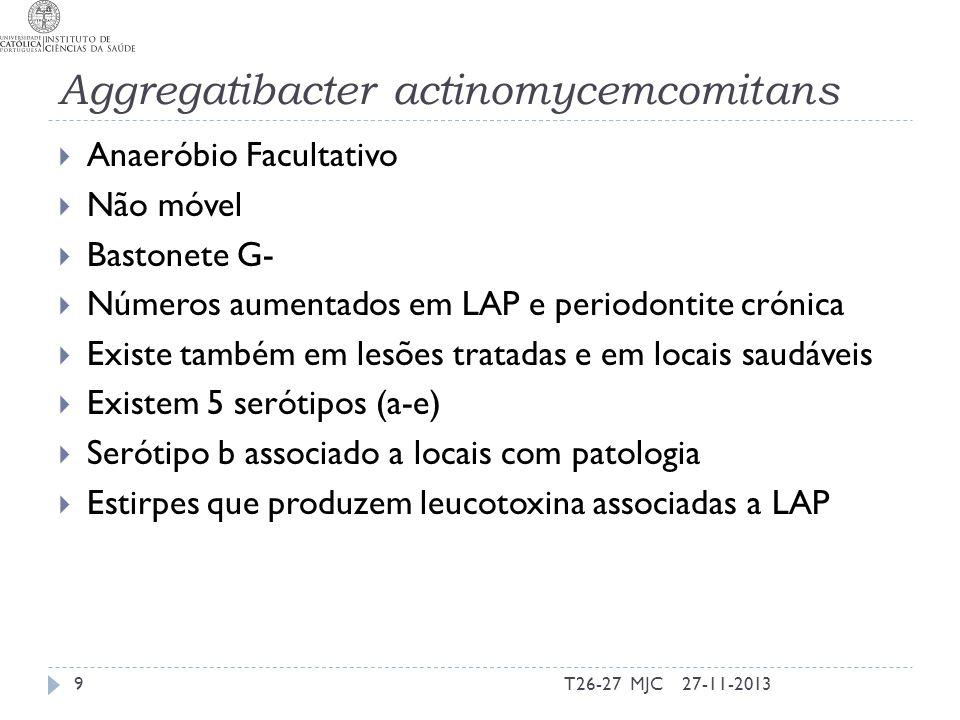 Factores de virulência (Mecanismos) - P.gingivalis Resposta inflamatória Promoção Activação de citocinas e quimocinas PMN Monócitos Células epiteliais Inibição IL-1ra IL-4 Degradação de citocinas Antagonismo na produção de IL-8 (factores de transcrição) Diminuição de TLR expressos à superficie 27-11-201320T26-27 MJC IL-1beta, TNF-alfa, IL-6 e IL-8 Inflama- ção e reabsor -ção óssea