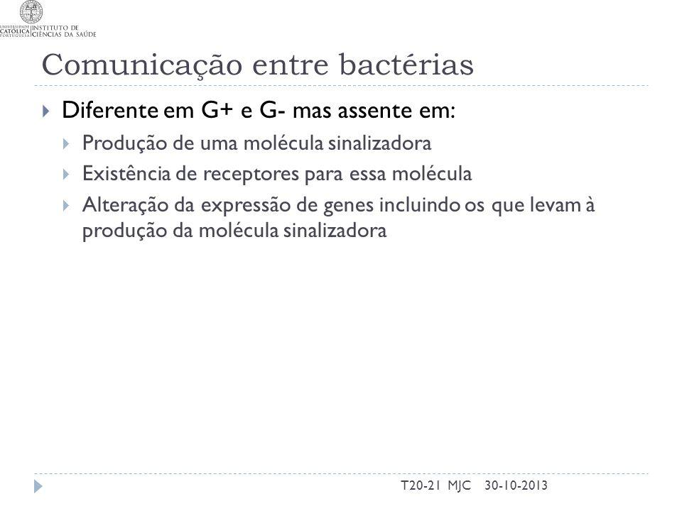 Comunicação entre bactérias Diferente em G+ e G- mas assente em: Produção de uma molécula sinalizadora Existência de receptores para essa molécula Alt