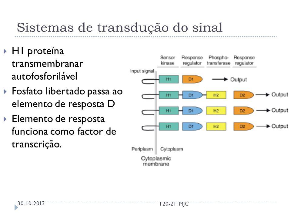 Sistemas de transdução do sinal H1 proteína transmembranar autofosforilável Fosfato libertado passa ao elemento de resposta D Elemento de resposta fun
