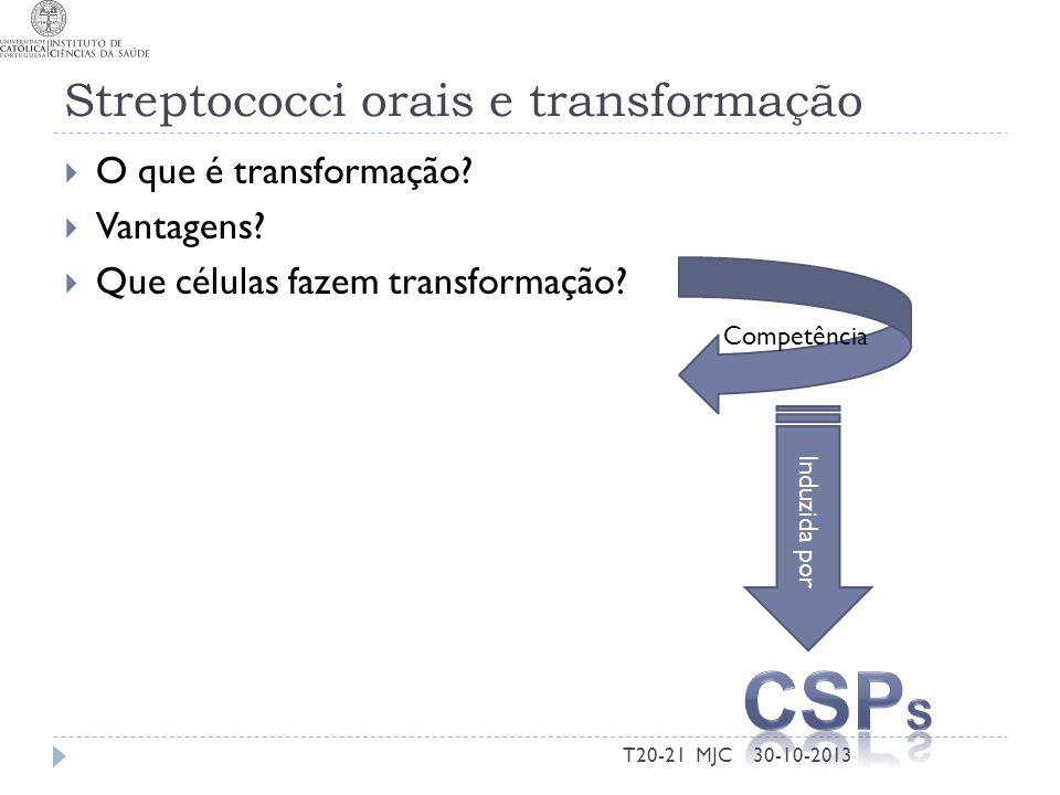 Streptococci orais e transformação O que é transformação? Vantagens? Que células fazem transformação? 30-10-2013T20-21 MJC Competência Induzida por