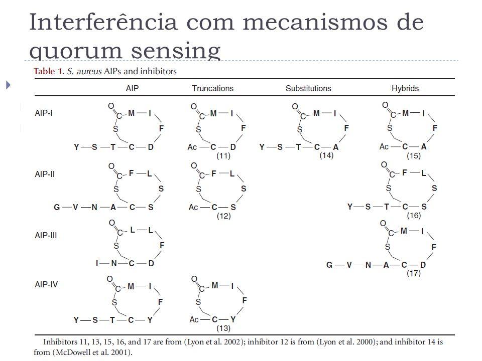 Interferência com mecanismos de quorum sensing Remoção ou inactivação das moléculas sinalizadoras Por outras bactérias (S. typhimurium e E. coli) Pelo