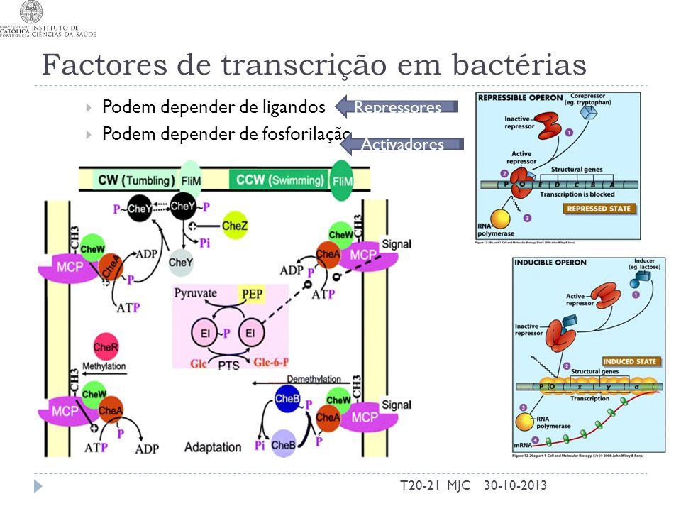 Factores de transcrição em bactérias Podem depender de ligandos Podem depender de fosforilação 30-10-2013T20-21 MJC Activadores Repressores