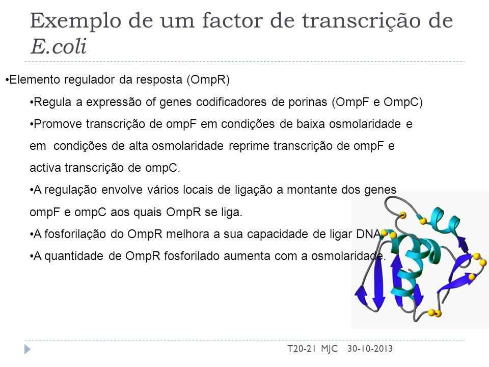 Exemplo de um factor de transcrição de E.coli 30-10-2013T20-21 MJC Elemento regulador da resposta (OmpR) Regula a expressão of genes codificadores de