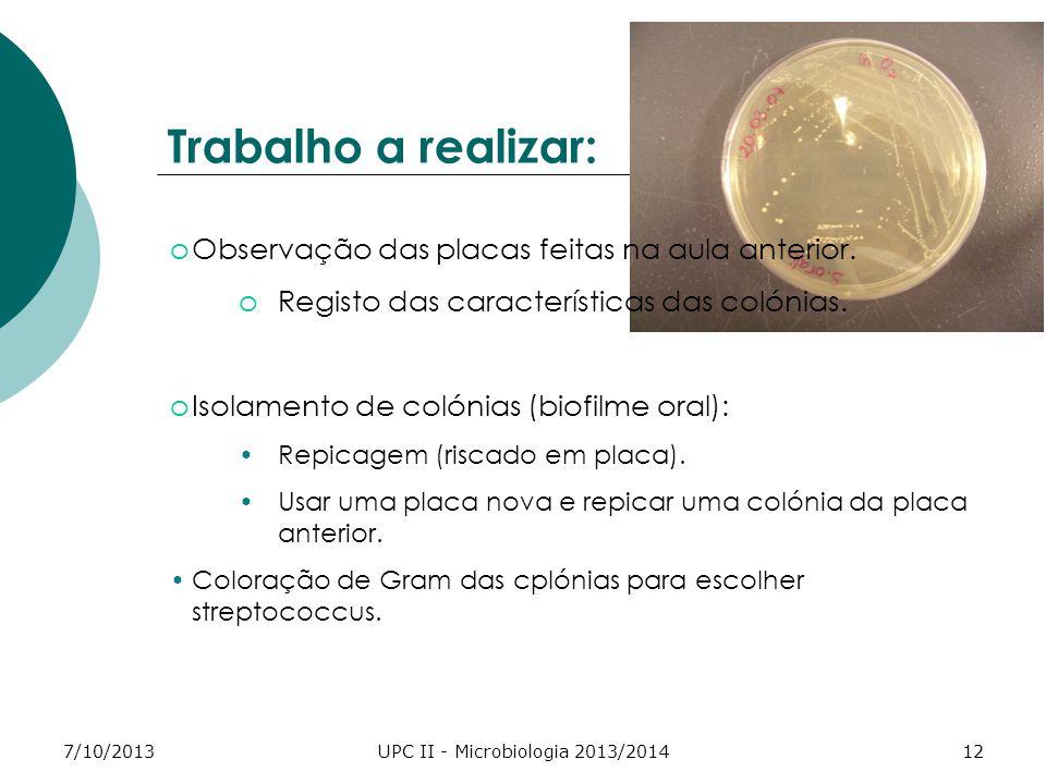 7/10/2013UPC II - Microbiologia 2013/201412 Trabalho a realizar: oObservação das placas feitas na aula anterior.