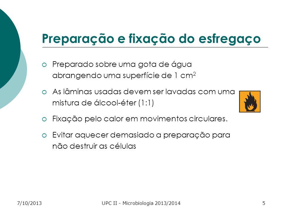 7/10/2013UPC II - Microbiologia 2013/20145 Preparação e fixação do esfregaço oPreparado sobre uma gota de água abrangendo uma superfície de 1 cm 2 oAs lâminas usadas devem ser lavadas com uma mistura de álcool-éter (1:1) oFixação pelo calor em movimentos circulares.
