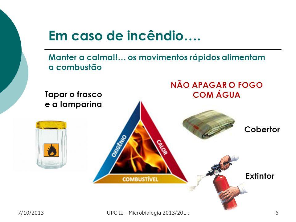 7/10/2013UPC II - Microbiologia 2013/20146 Em caso de incêndio….