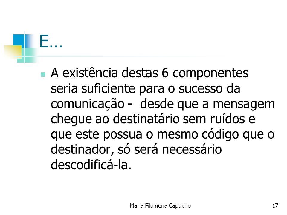 Maria Filomena Capucho17 E… A existência destas 6 componentes seria suficiente para o sucesso da comunicação - desde que a mensagem chegue ao destinat