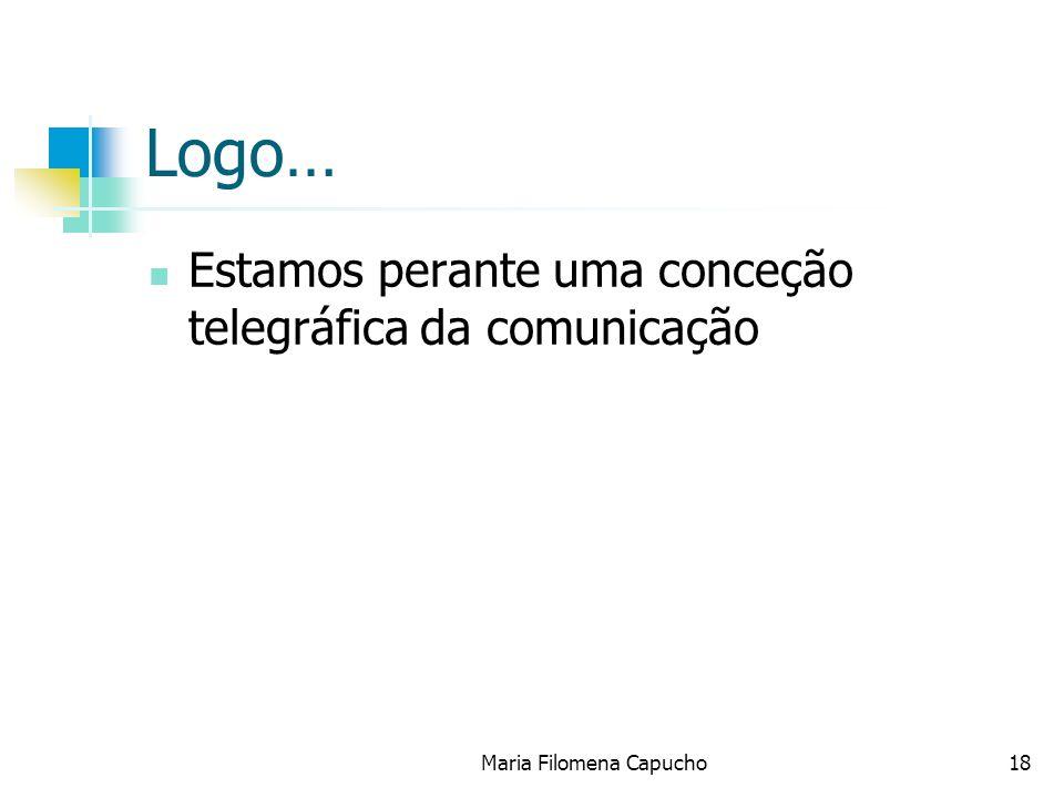 Maria Filomena Capucho18 Logo… Estamos perante uma conceção telegráfica da comunicação