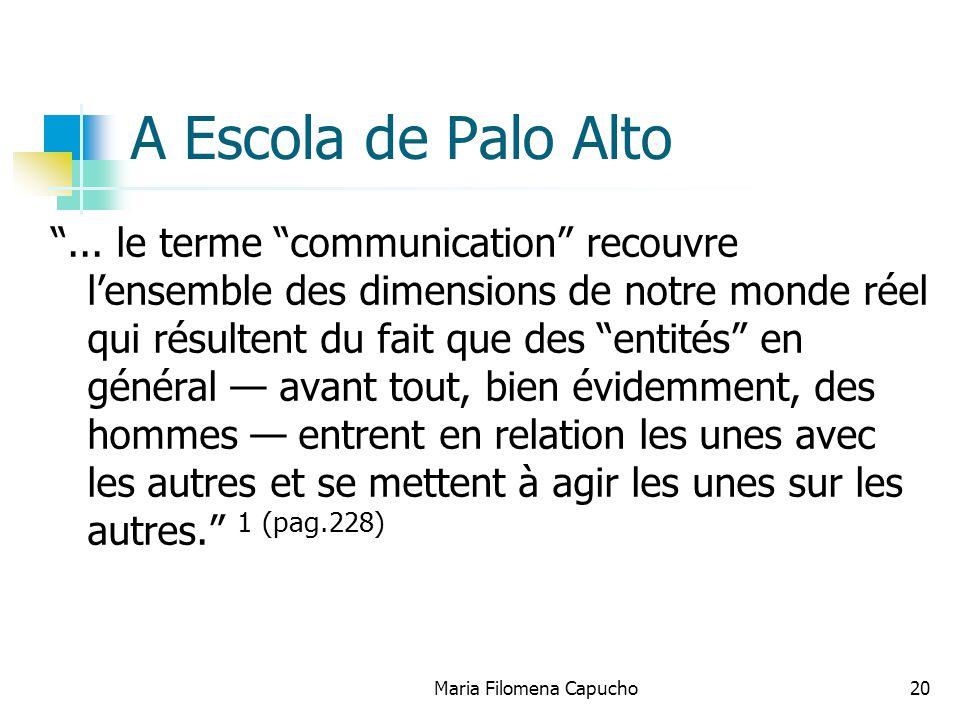 Maria Filomena Capucho20 A Escola de Palo Alto... le terme communication recouvre lensemble des dimensions de notre monde réel qui résultent du fait q