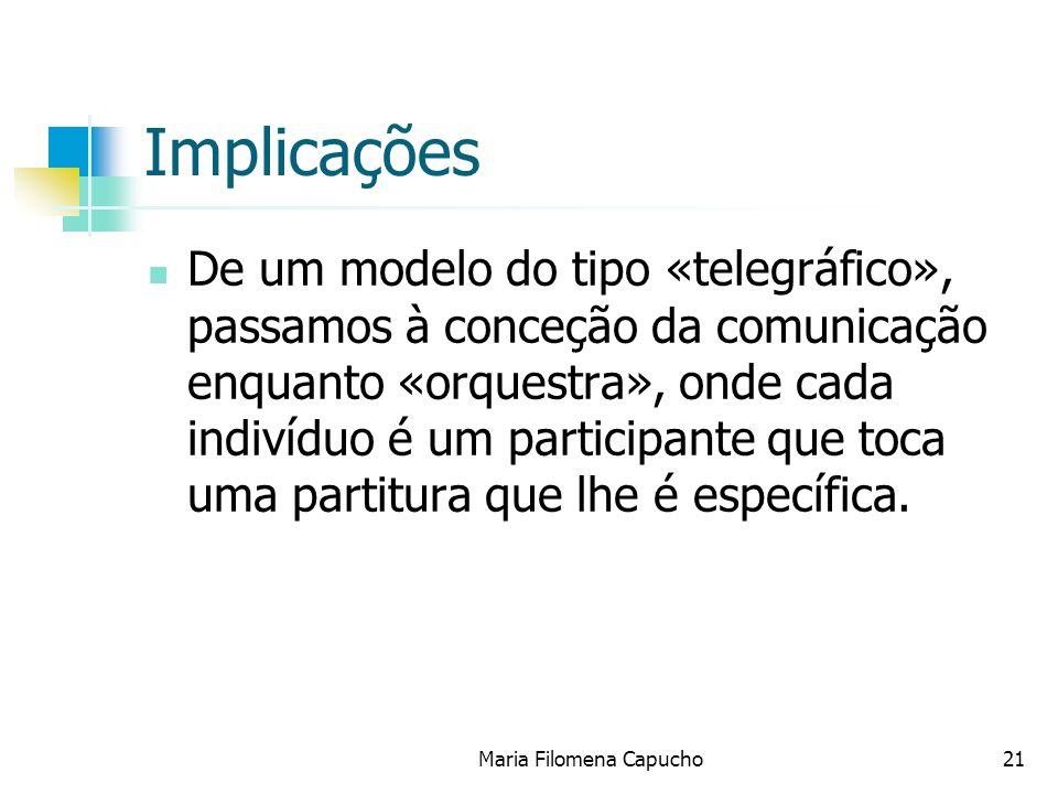 Maria Filomena Capucho21 Implicações De um modelo do tipo «telegráfico», passamos à conceção da comunicação enquanto «orquestra», onde cada indivíduo
