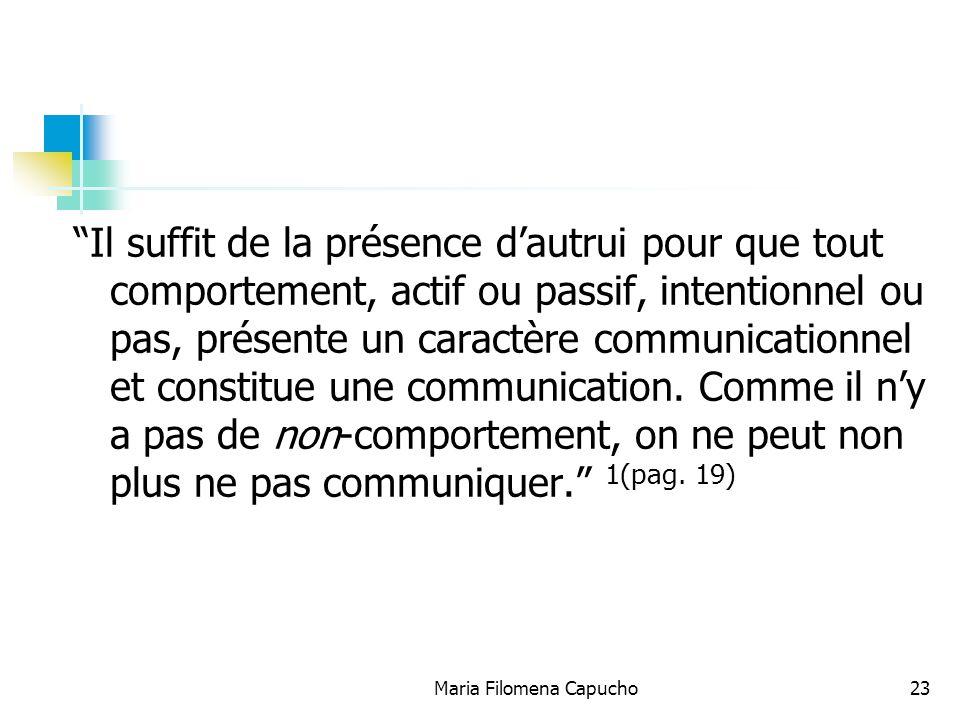 Maria Filomena Capucho23 Il suffit de la présence dautrui pour que tout comportement, actif ou passif, intentionnel ou pas, présente un caractère comm