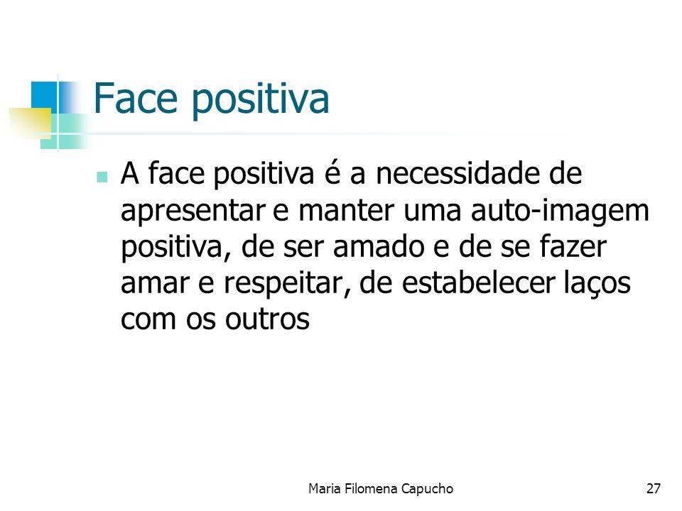 Face positiva A face positiva é a necessidade de apresentar e manter uma auto-imagem positiva, de ser amado e de se fazer amar e respeitar, de estabel