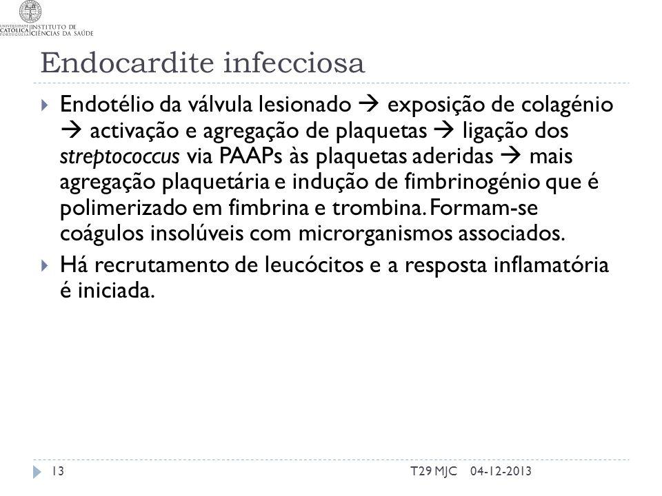 Endocardite infecciosa Endotélio da válvula lesionado exposição de colagénio activação e agregação de plaquetas ligação dos streptococcus via PAAPs às