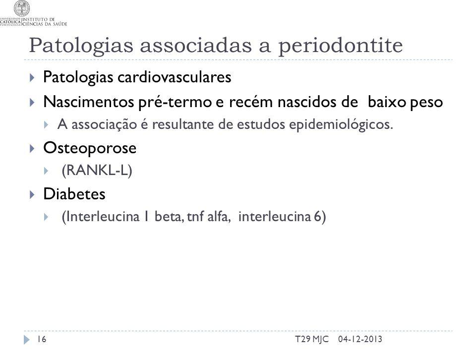 Patologias associadas a periodontite Patologias cardiovasculares Nascimentos pré-termo e recém nascidos de baixo peso A associação é resultante de estudos epidemiológicos.
