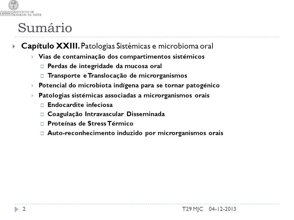 Sumário T29 MJC2 Capítulo XXIII. Patologias Sistémicas e microbioma oral Vias de contaminação dos compartimentos sistémicos Perdas de integridade da m