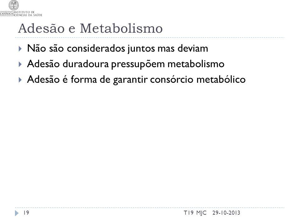 Adesão e Metabolismo Não são considerados juntos mas deviam Adesão duradoura pressupõem metabolismo Adesão é forma de garantir consórcio metabólico 29