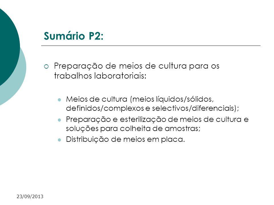 23/09/2013 Sumário P2: Preparação de meios de cultura para os trabalhos laboratoriais: Meios de cultura (meios líquidos/sólidos, definidos/complexos e