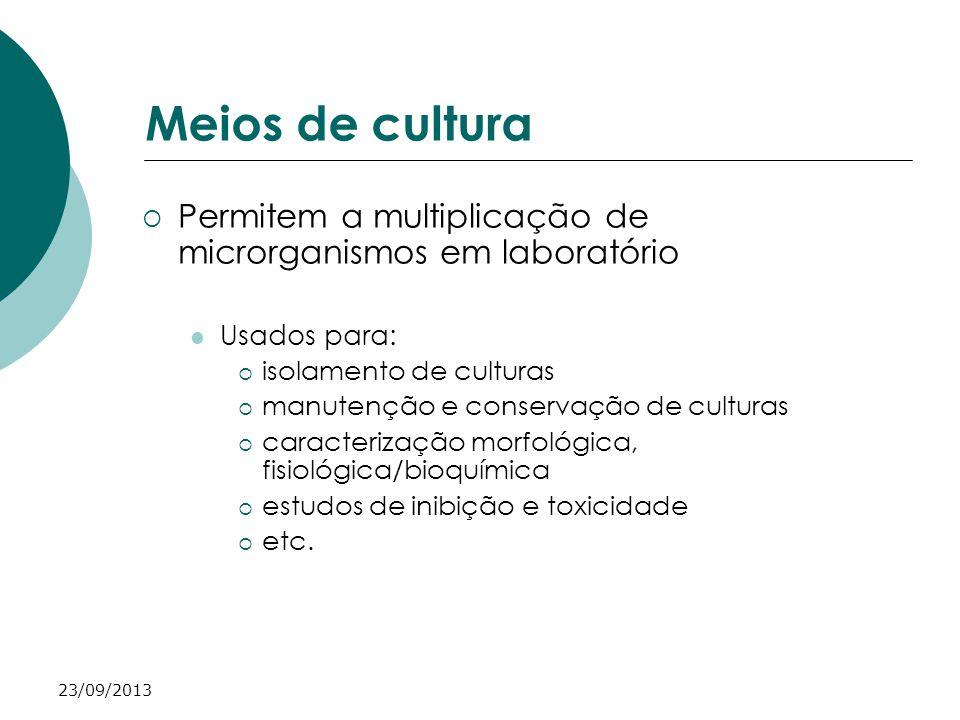 23/09/2013 Meios de cultura Permitem a multiplicação de microrganismos em laboratório Usados para: isolamento de culturas manutenção e conservação de