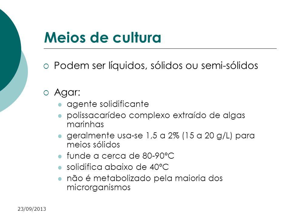 23/09/2013 Meios de cultura Podem ser líquidos, sólidos ou semi-sólidos Agar: agente solidificante polissacarídeo complexo extraído de algas marinhas
