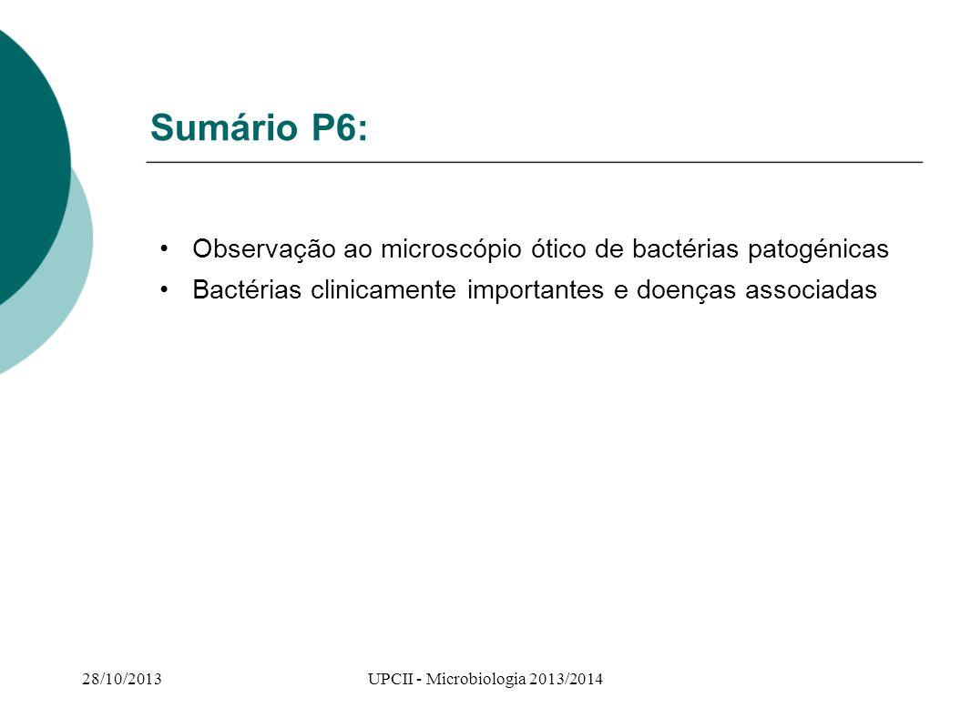 Sumário P6: Observação ao microscópio ótico de bactérias patogénicas Bactérias clinicamente importantes e doenças associadas 28/10/2013UPCII - Microbi