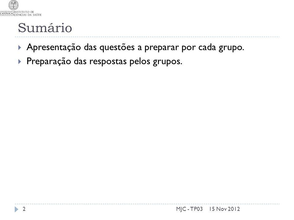 Sumário 15 Nov 2012MJC - TP032 Apresentação das questões a preparar por cada grupo. Preparação das respostas pelos grupos.