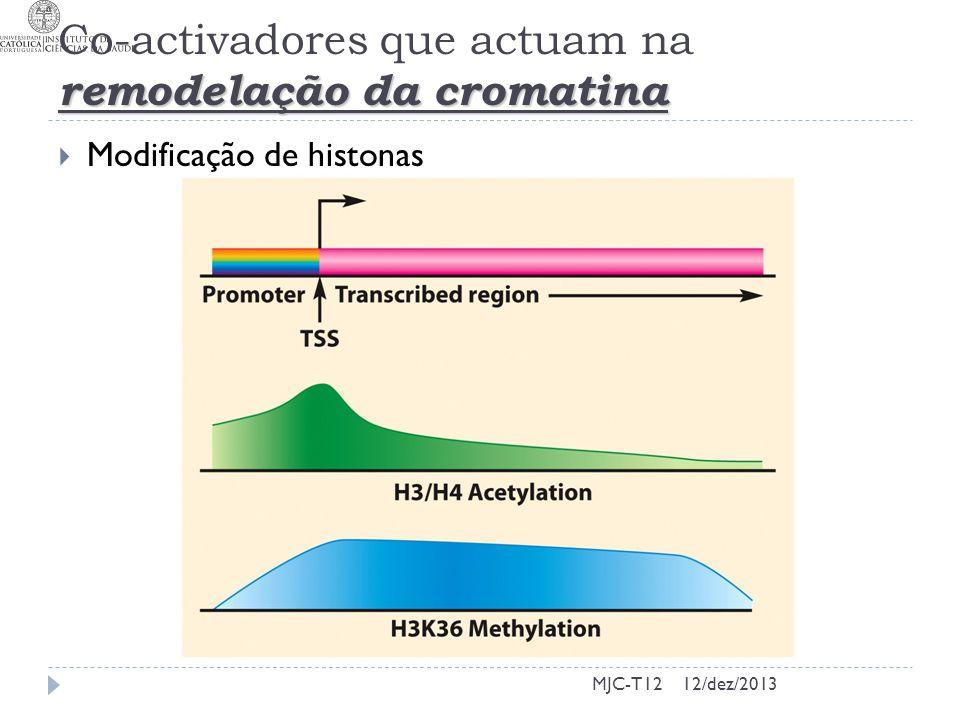 remodelação da cromatina Co-activadores que actuam na remodelação da cromatina Modificação de histonas MJC-T1212/dez/2013