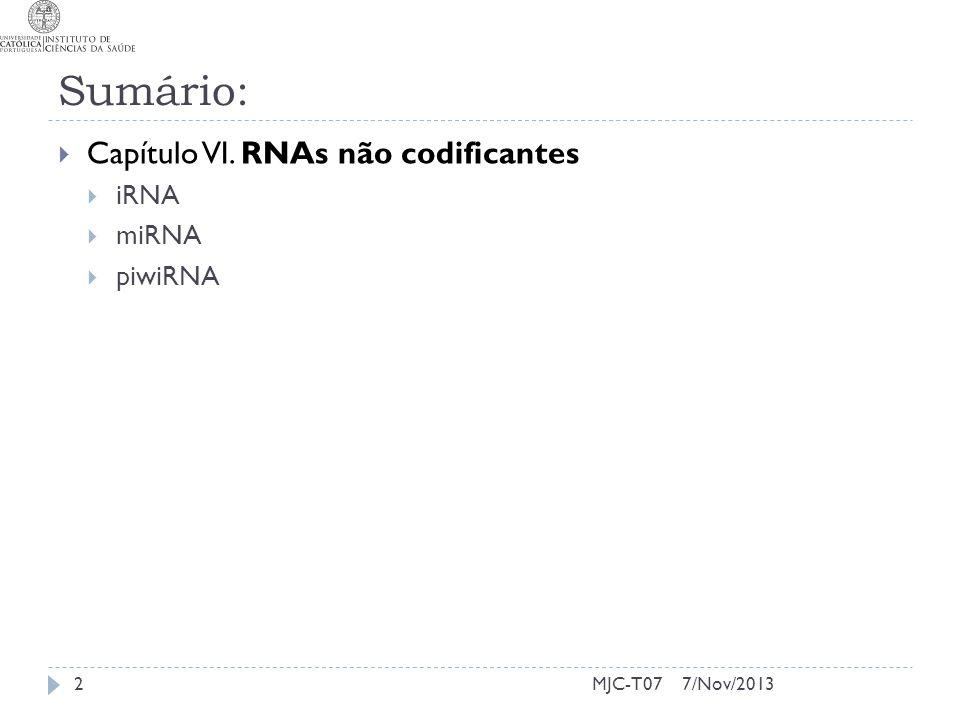 7/Nov/2013MJC-T07 Sumário: Capítulo VI. RNAs não codificantes iRNA miRNA piwiRNA 2