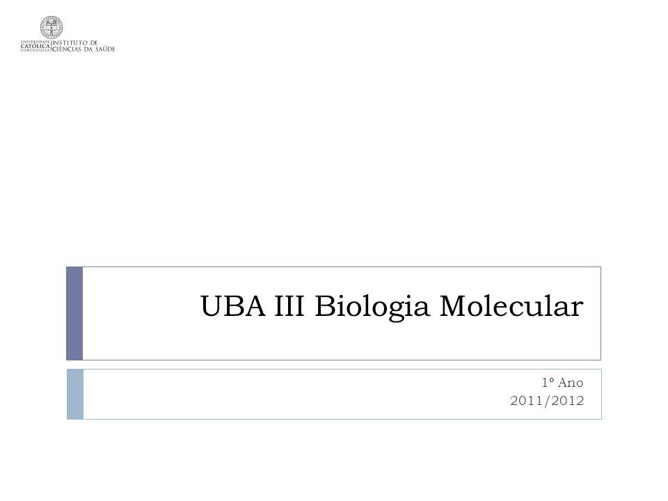 UBA III Biologia Molecular 1º Ano 2011/2012