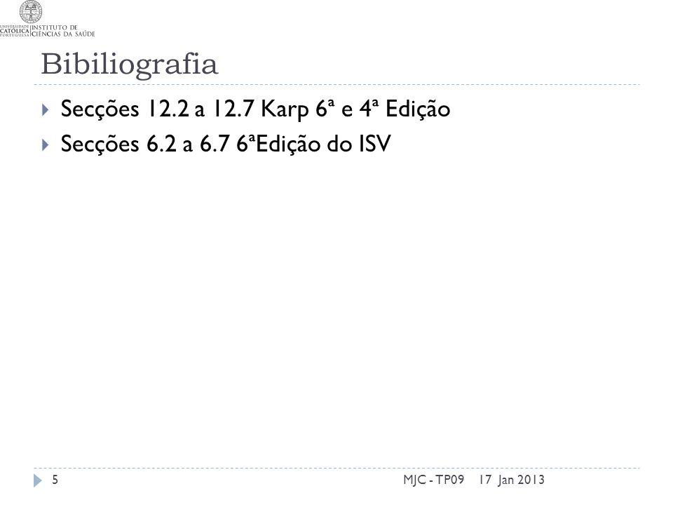 Bibiliografia Secções 12.2 a 12.7 Karp 6ª e 4ª Edição Secções 6.2 a 6.7 6ªEdição do ISV 17 Jan 2013MJC - TP095