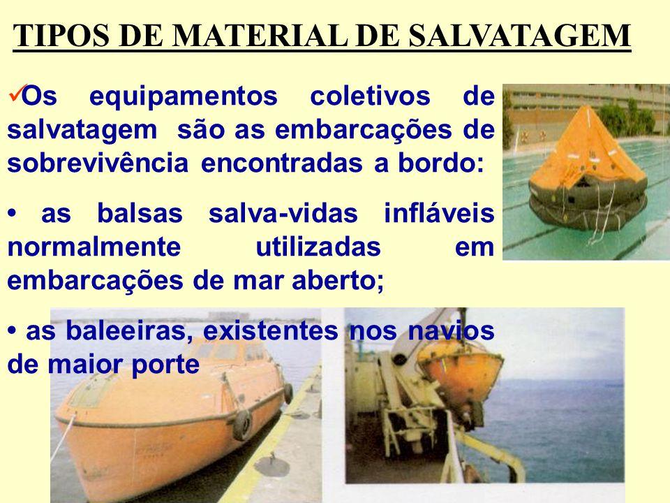 Existem dois tipos de equipamentos de salvatagem que você deve conhecer: os equipamentos individuais e os coletivos. São exemplos de equipamentos indi