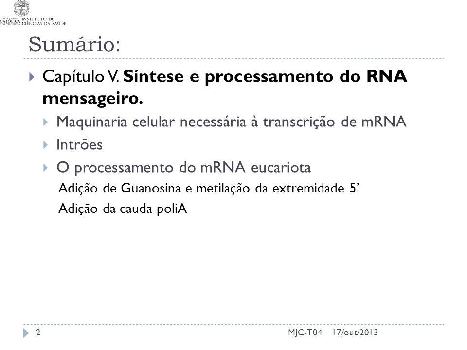 17/out/2013MJC-T04 Sumário: Capítulo V. Síntese e processamento do RNA mensageiro. Maquinaria celular necessária à transcrição de mRNA Intrões O proce