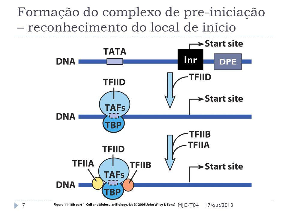 Formação do complexo de pre-iniciação – reconhecimento do local de início 17/out/20137MJC-T04 Inr DPE