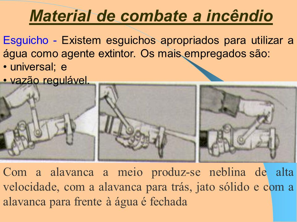Agentes Extintores 3. CO 2 - Pode ser utilizado em incêndios das classes A,B e C. Não deve ser utilizado para incêndios da classe D. 4. Pó químico - O