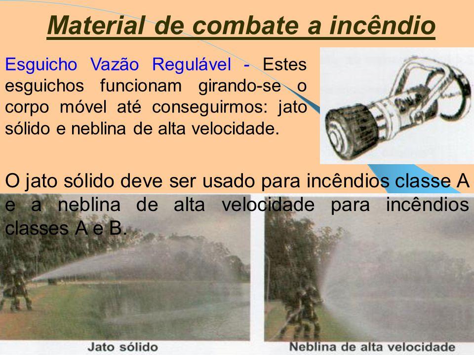 Material de combate a incêndio Esguicho - Existem esguichos apropriados para utilizar a água como agente extintor. Os mais empregados são: universal;
