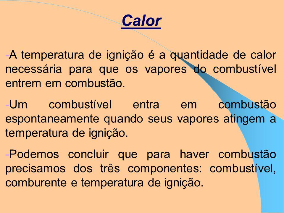 Calor -A temperatura de ignição é a quantidade de calor necessária para que os vapores do combustível entrem em combustão.