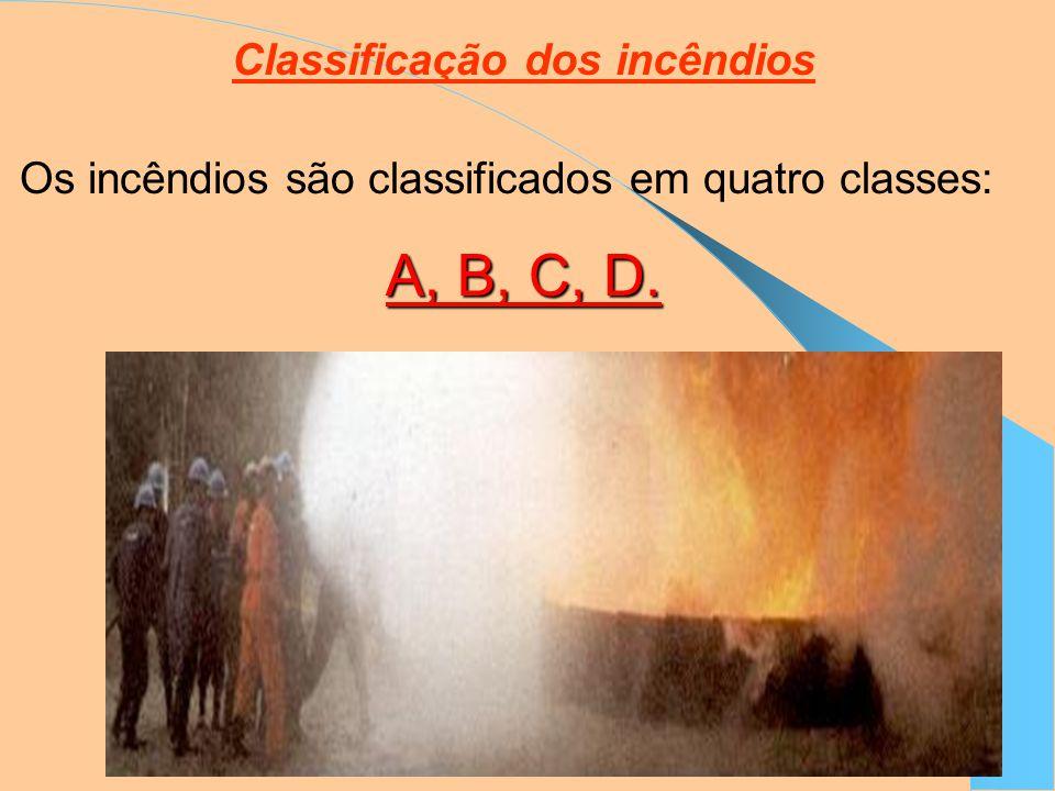 Classificação dos incêndios Os incêndios são classificados em quatro classes: A, B, C, D.