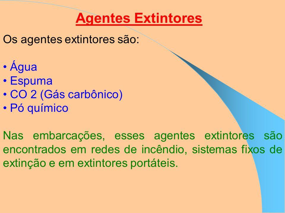Agentes Extintores Os agentes extintores são: Água Espuma CO 2 (Gás carbônico) Pó químico Nas embarcações, esses agentes extintores são encontrados em redes de incêndio, sistemas fixos de extinção e em extintores portáteis.