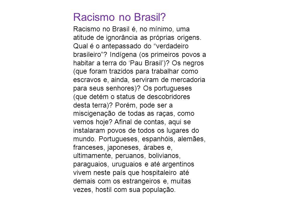 Racismo no Brasil? Racismo no Brasil é, no mínimo, uma atitude de ignorância as próprias origens. Qual é o antepassado do verdadeiro brasileiro? Indíg