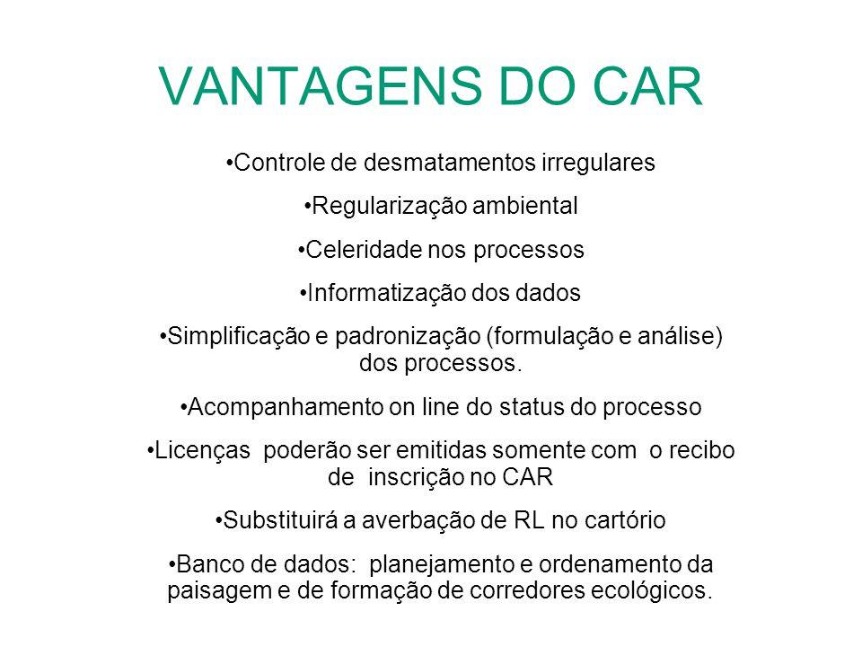 VANTAGENS DO CAR Controle de desmatamentos irregulares Regularização ambiental Celeridade nos processos Informatização dos dados Simplificação e padro