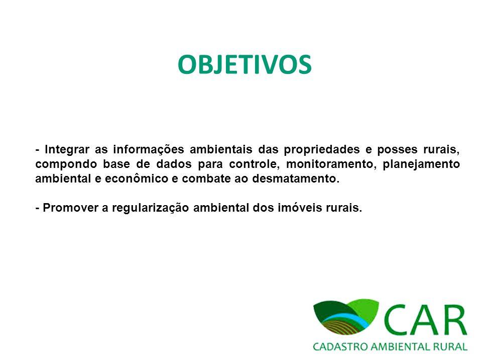 OBJETIVOS - Integrar as informações ambientais das propriedades e posses rurais, compondo base de dados para controle, monitoramento, planejamento amb