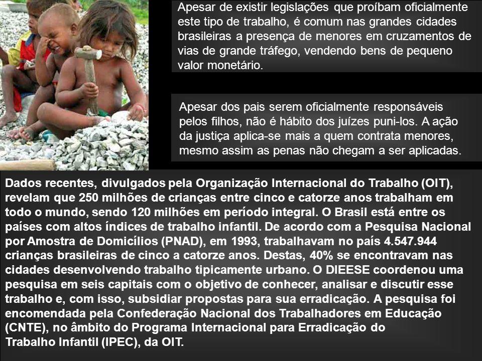 Apesar de existir legislações que proíbam oficialmente este tipo de trabalho, é comum nas grandes cidades brasileiras a presença de menores em cruzamentos de vias de grande tráfego, vendendo bens de pequeno valor monetário.