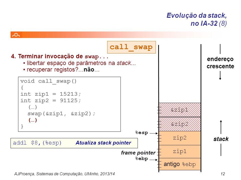 AJProença, Sistemas de Computação, UMinho, 2013/1412 *yp *xp antigo %ebp endereço crescente stack &zip2 %esp %ebp frame pointer void call_swap() { int
