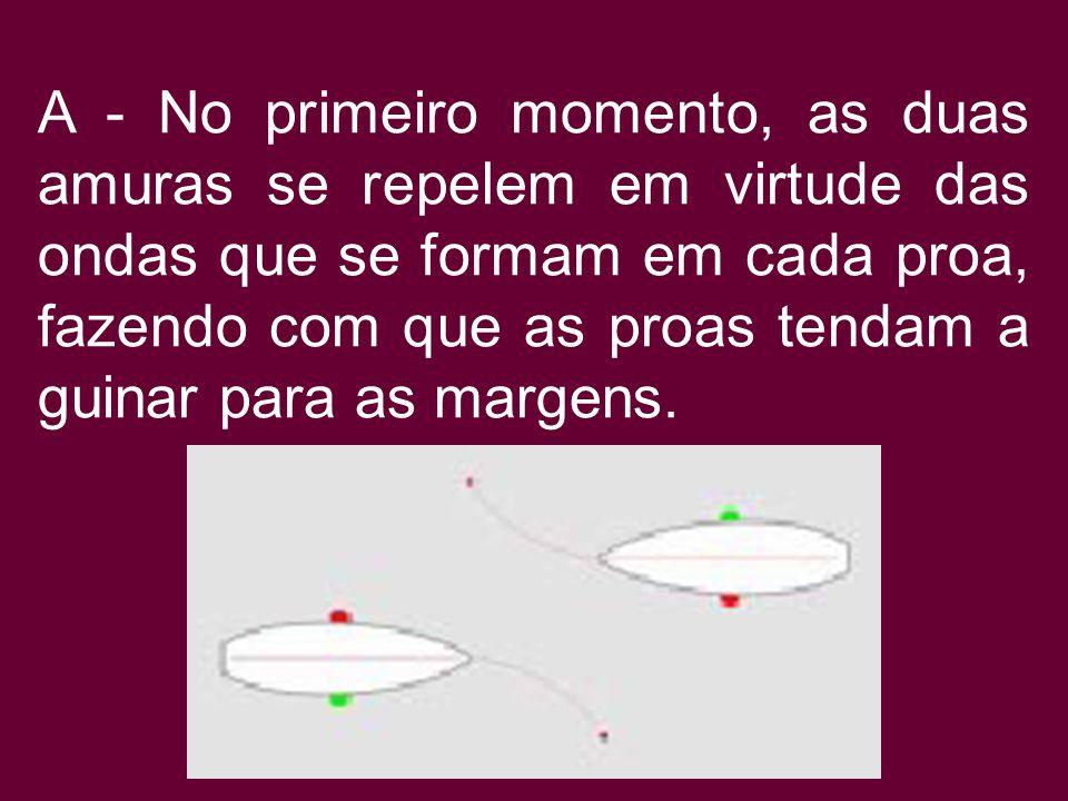 Cruzamento de embarcações - Quando duas embarcações passam em rumos paralelos e em sentidos contrários, à pequena distância, pode haver uma interferên