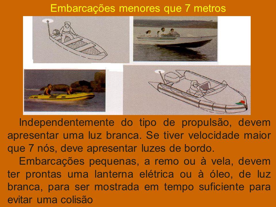 Embarcação cujo comprimento fica entre 12 e 50 metros Embarcação de propulsão mecânica navegando