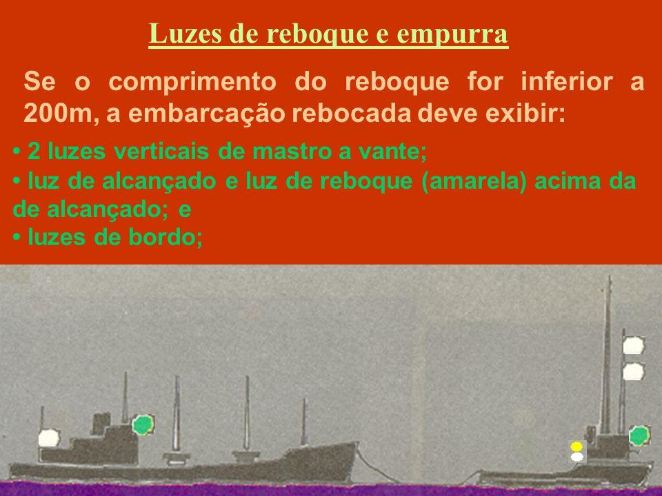 Embarcações menores que 7 metros Independentemente do tipo de propulsão, devem apresentar uma luz branca.